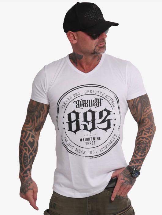 Yakuza T-Shirt Creative Studio Long Tail V-Neck weiß
