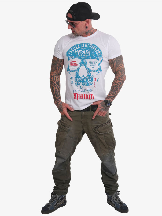 Yakuza T-Shirt Through Skull weiß