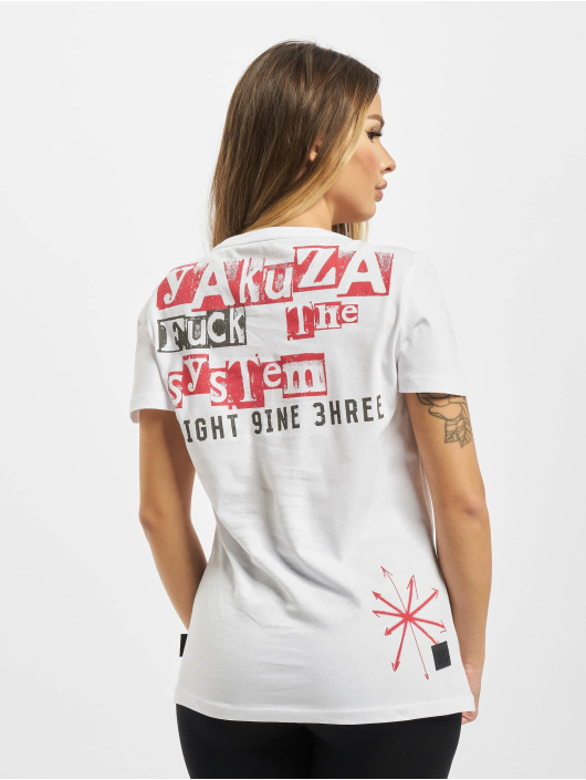 Yakuza T-Shirt Fuck The System V Neck white