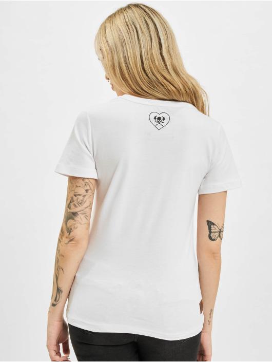 Yakuza T-Shirt Bubble Skull V-Neck white