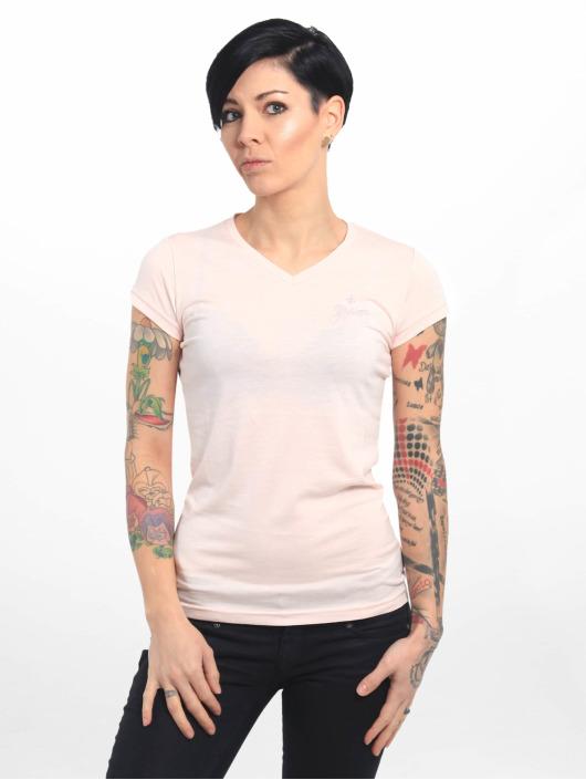 Yakuza T-shirts Basic Line Script V Neck pink