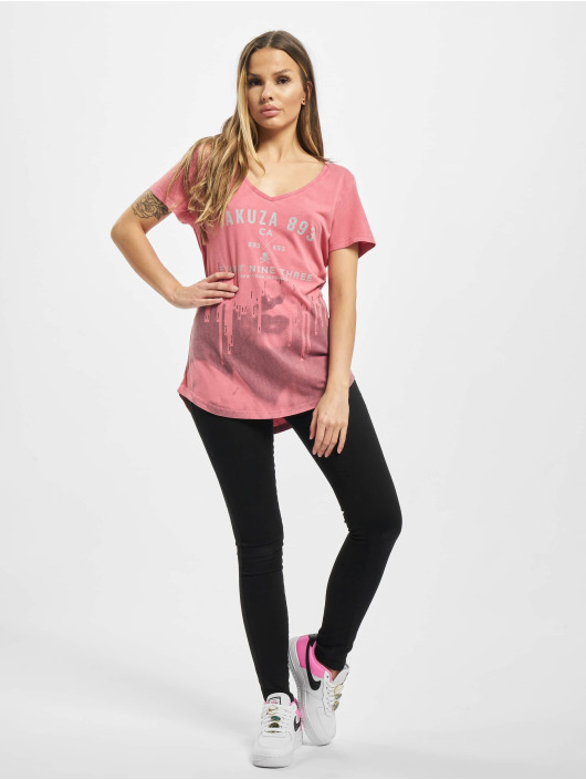 Yakuza T-shirts Virus V Neck pink