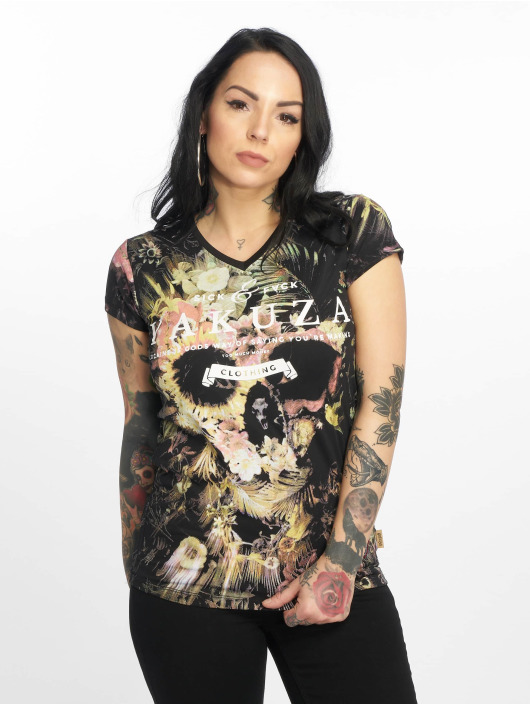Yakuza T-shirts Flower Skull V-Neck sort