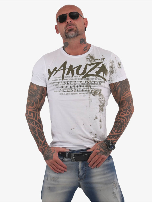 Yakuza T-Shirty Destroy A Monster bialy