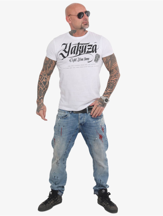Yakuza T-Shirty Indian Skull bialy