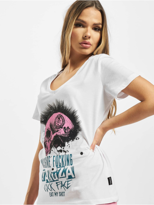 Yakuza T-Shirty Massive V Neck bialy