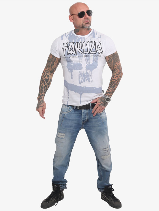 Yakuza T-Shirty Burning Skull bialy