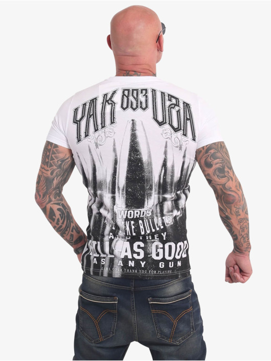 Yakuza T-Shirty Words Like Bullets bialy