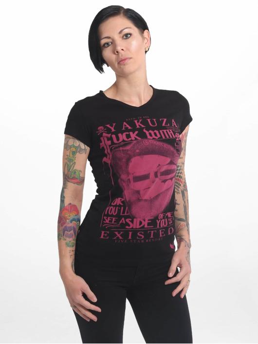 Yakuza T-Shirty Fuck With Me V Neck czarny