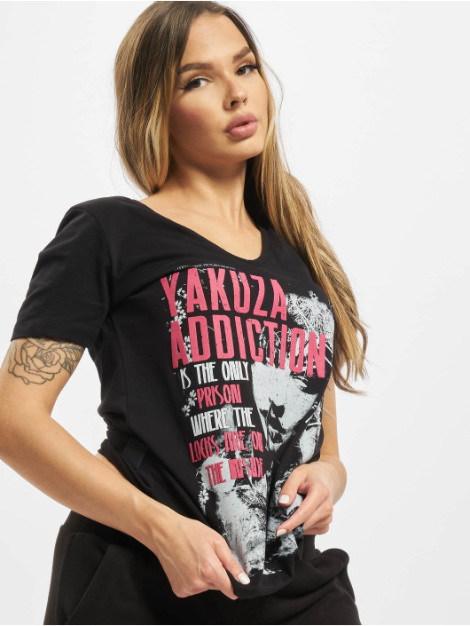 Yakuza T-Shirty Addiction V Neck czarny
