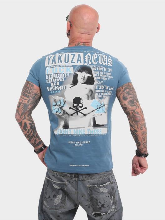 Yakuza T-Shirty News niebieski