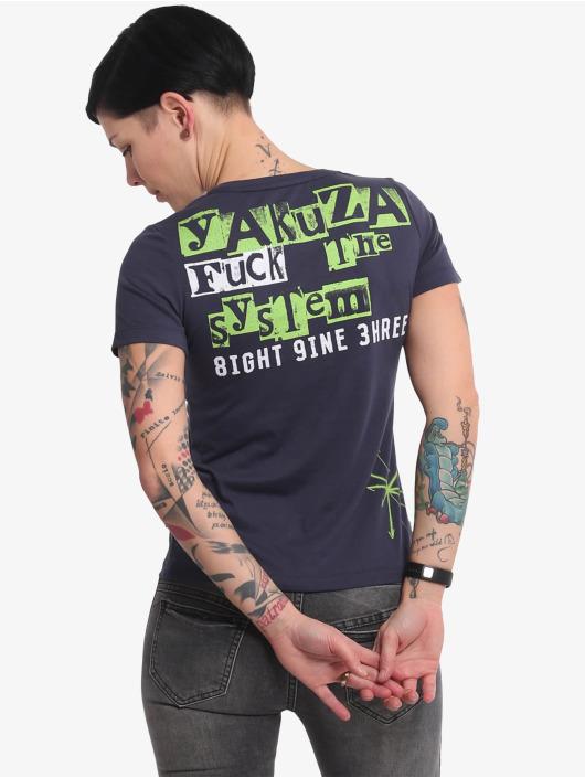 Yakuza T-Shirty Fuck The System V Neck niebieski
