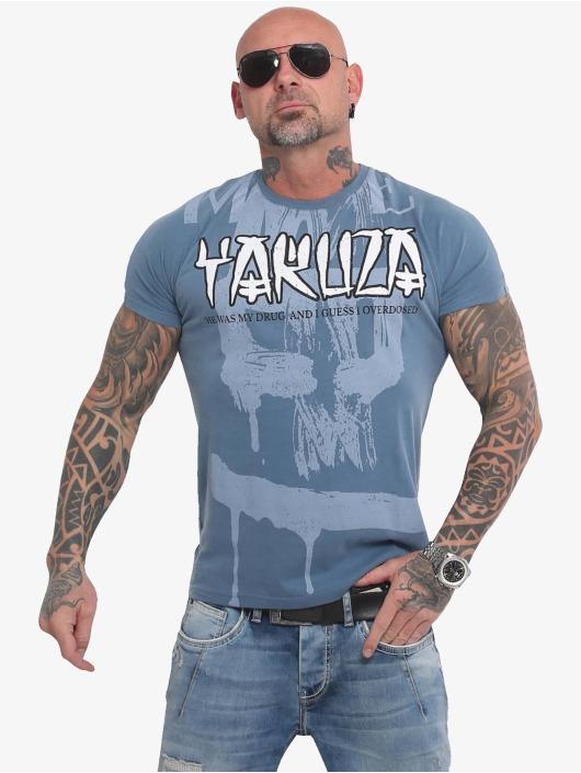 Yakuza T-Shirty Burning Skull niebieski