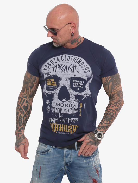 Yakuza T-Shirty Through Skull niebieski