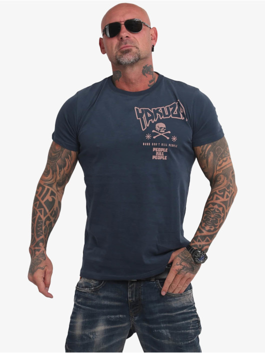 Yakuza T-Shirty Guns Vs People niebieski