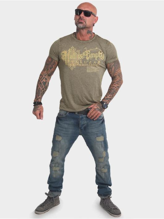 Yakuza T-Shirty Hell Is Empty Burnout oliwkowy