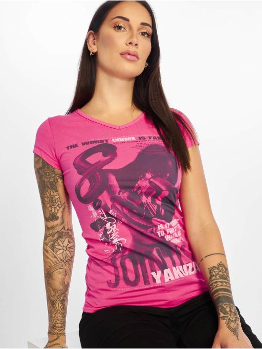 Yakuza T-Shirty Join Us V-Neck pink