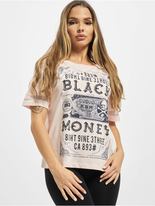 Yakuza T-Shirty Black Money Panelling Box Fit pink