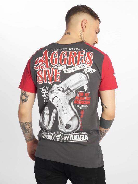 Yakuza T-Shirty Aggressive Two Face szary
