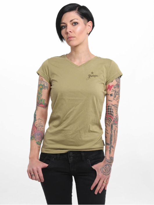 Yakuza T-Shirty Basic Line Script V Neck zielony