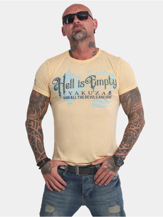 Yakuza T-Shirty Hell Is Empty Burnout zólty