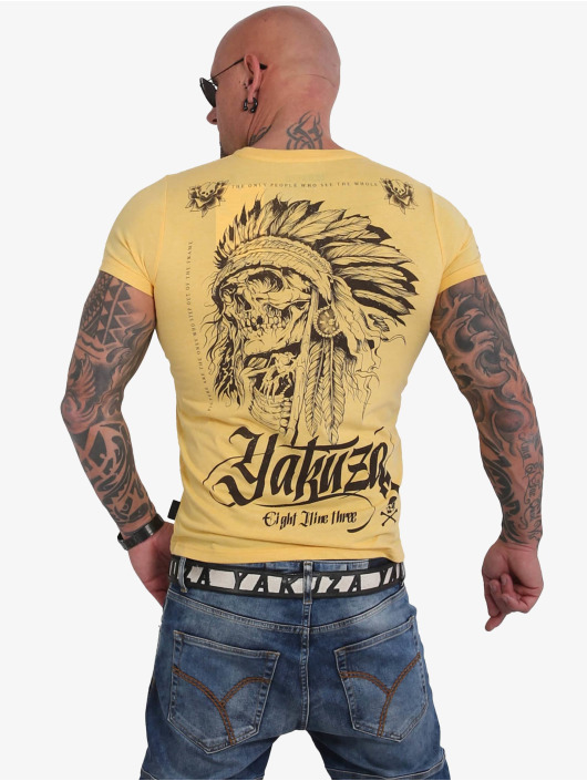 Yakuza T-Shirty Indian Skull zólty