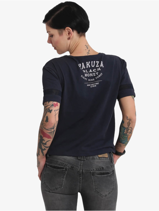 Yakuza T-skjorter Black Money Panelling Box Fit blå