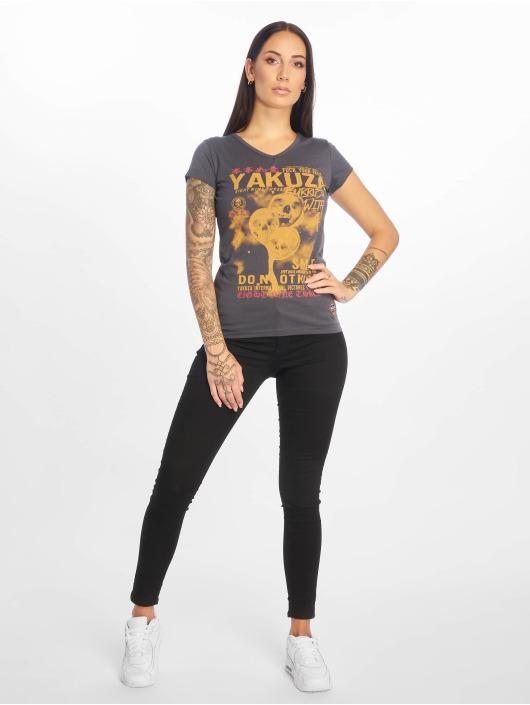 Yakuza T-skjorter Burried V-Neck grå