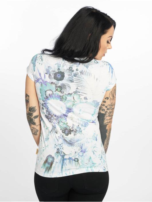 Yakuza T-skjorter Flower Skull V-Neck hvit