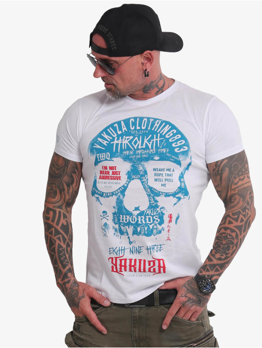 Yakuza T-skjorter Through Skull hvit