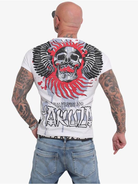 Yakuza T-skjorter Burning Skull hvit