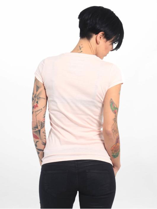 Yakuza T-skjorter Basic Line Script V Neck lyserosa