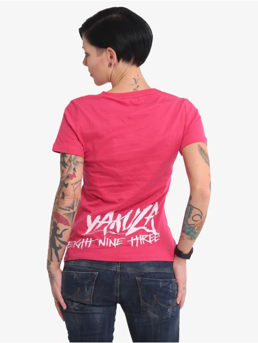 Yakuza T-skjorter Muerte Skull V Neck lyserosa