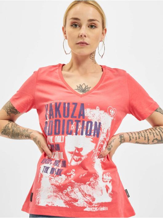 Yakuza T-skjorter Addiction V Neck lyserosa