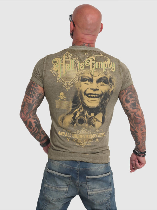 Yakuza T-skjorter Hell Is Empty Burnout oliven