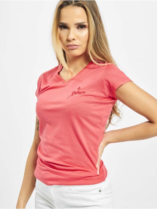 Yakuza T-skjorter Basic Line Script V Neck rosa