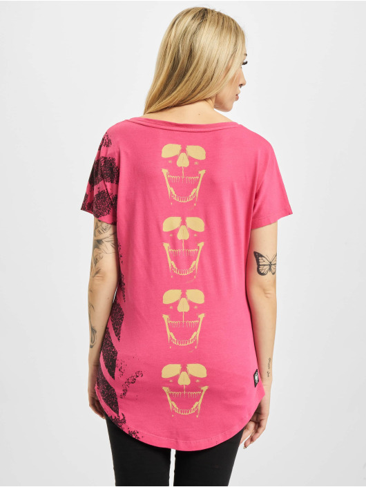 Yakuza T-skjorter Lighting Skull Dye V Neck rosa