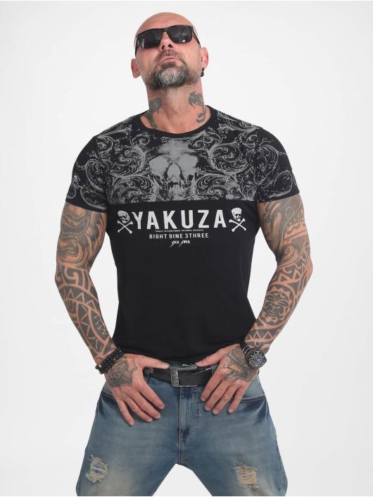 Yakuza T-skjorter Ornamentic Skull svart