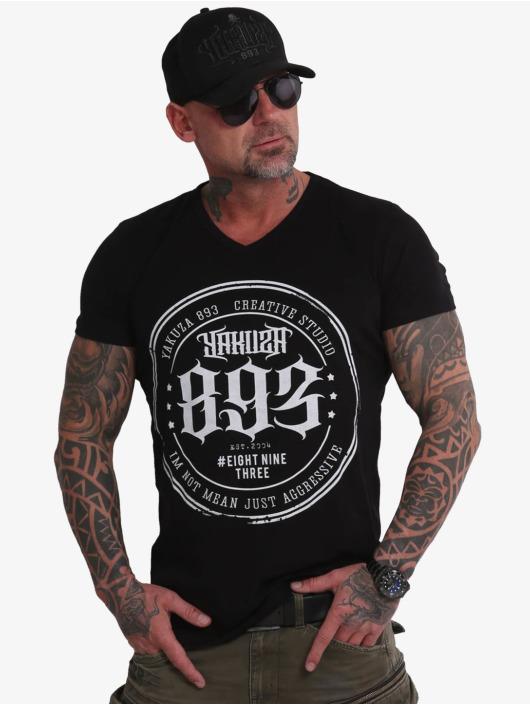Yakuza T-skjorter Creative Studio Long Tail V-Neck svart