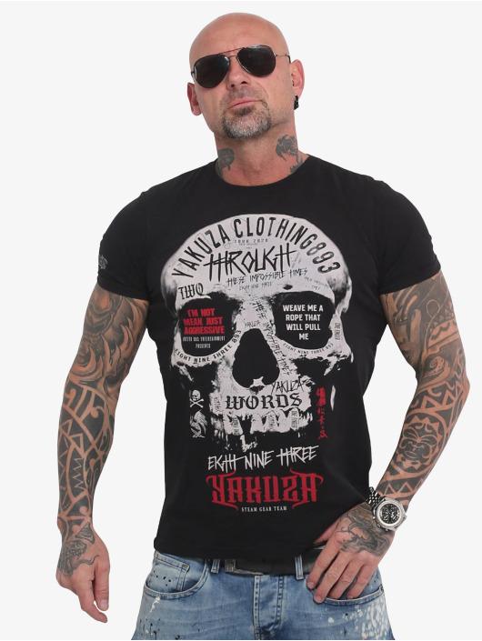 Yakuza T-skjorter Through Skull svart