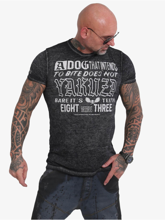 Yakuza T-skjorter Dog Burnout svart