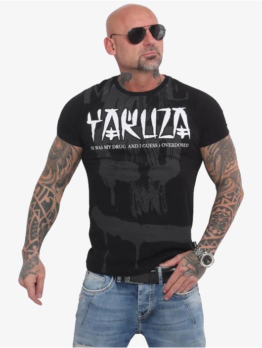 Yakuza T-skjorter Burning Skull svart