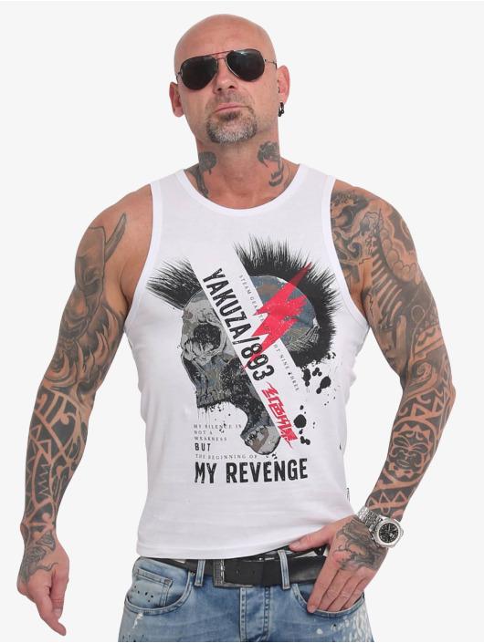 Yakuza Tank Tops Skull Revenge bílý