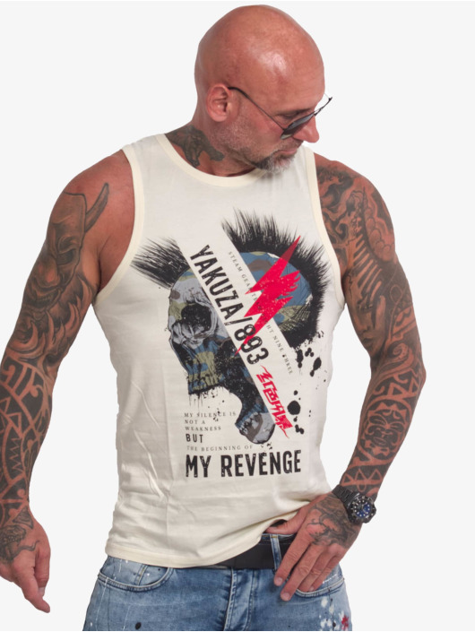 Yakuza Tank Tops Skull Revenge beige