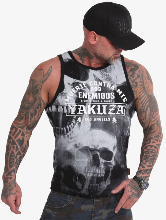 Yakuza Tank Tops Muerte Skull czarny
