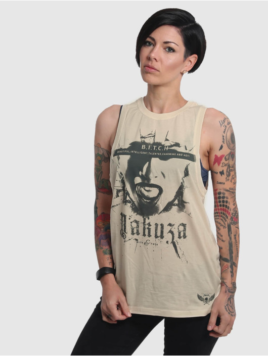 Yakuza Tanktop B.I.T.C.H. beige