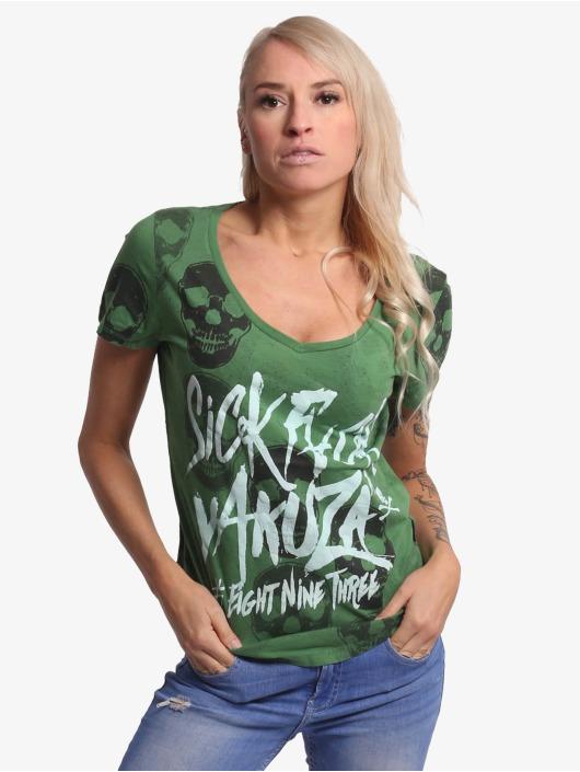 Yakuza Tričká Overdosed Dye V-Neck zelená