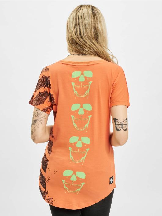Yakuza Trika Lighting Skull Dye V Neck oranžový