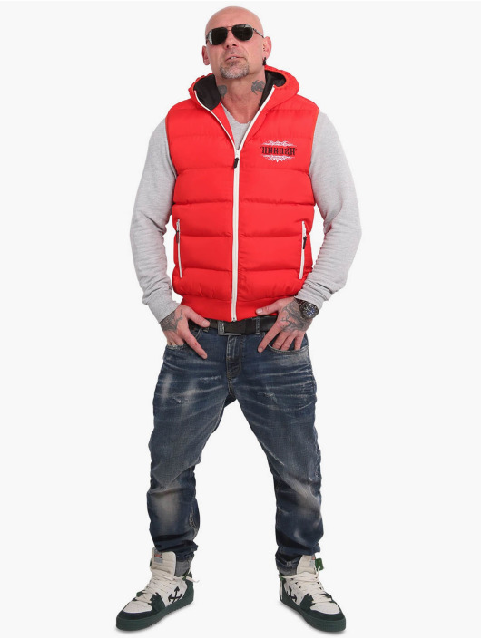 Yakuza Västar Felt Logo V02 Quilted Hooded röd