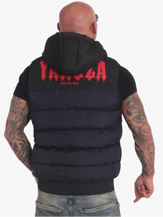 Yakuza Vest Fck Society Quilted Hooded blue